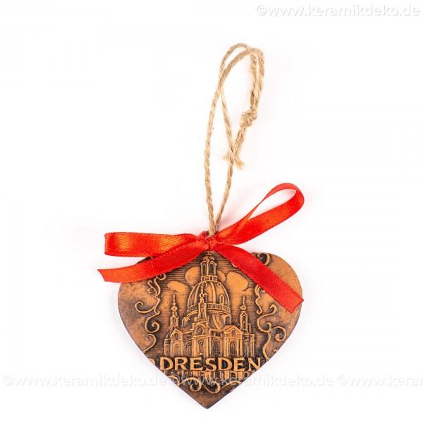 Dresden - Herzform, braun, handgefertigte Keramik, Weihnachtsbaum-Hänger