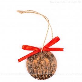 Dresden - runde form, braun, handgefertigte Keramik, Weihnachtsbaumschmuck