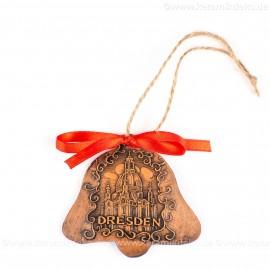 Dresden - Glockenform, braun, handgefertigte Keramik, Baumschmuck zu Weihnachten
