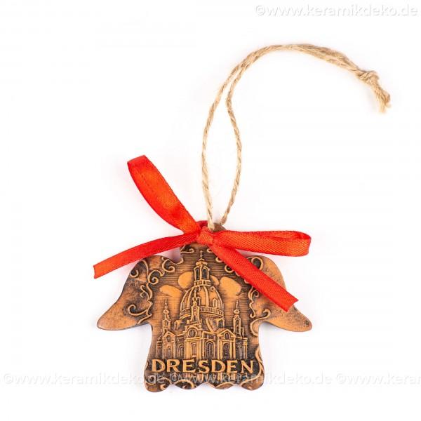Dresden - Engelform, braun, handgefertigte Keramik, Weihnachtsbaum-Hänger