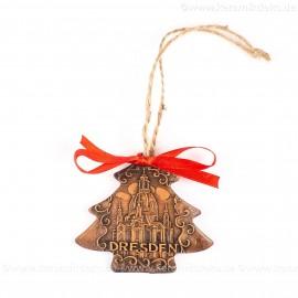 Dresden - Weihnachtsbaum-form, braun, handgefertigte Keramik, Weihnachtsbaumschmuck
