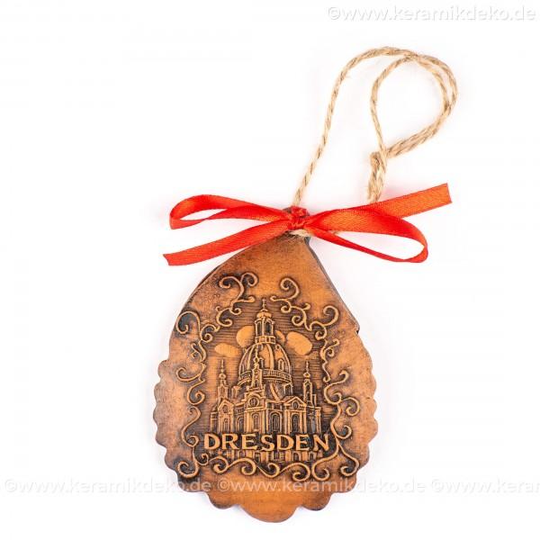 Dresden - Weihnachtsmann-form, braun, handgefertigte Keramik, Baumschmuck zu Weihnachten
