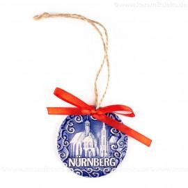 Nürnberg - Schöner Brunnen - runde form, blau, handgefertigte Keramik, Weihnachtsbaumschmuck