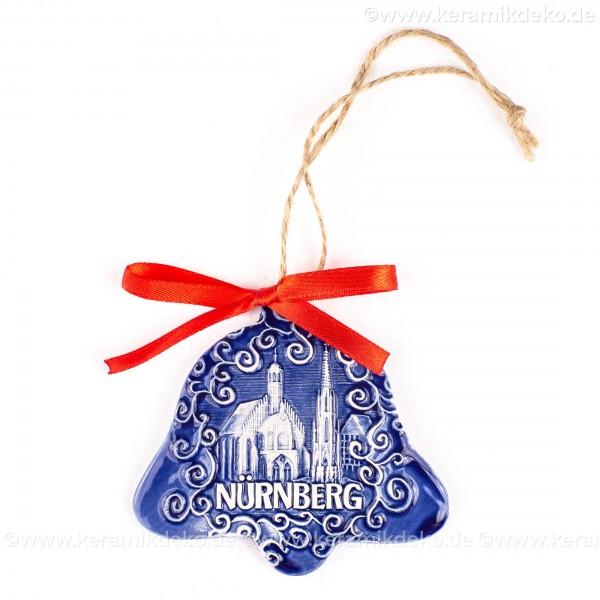 Nürnberg - Schöner Brunnen - Glockenform, blau, handgefertigte Keramik, Baumschmuck zu Weihnachten