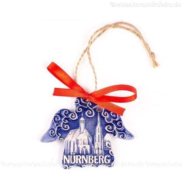 Nürnberg - Schöner Brunnen - Engelform, blau, handgefertigte Keramik, Weihnachtsbaum-Hänger