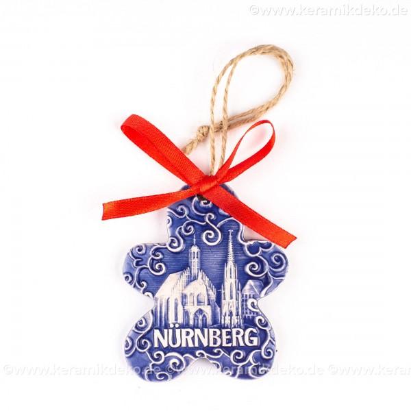Nürnberg - Schöner Brunnen - Keksform, blau, handgefertigte Keramik, Christbaumschmuck