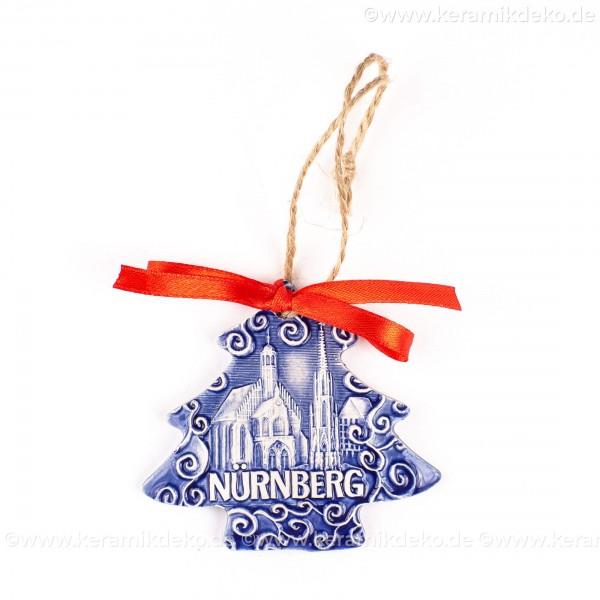 Nürnberg - Schöner Brunnen - Weihnachtsbaum-form, blau, handgefertigte Keramik, Weihnachtsbaumschmuck