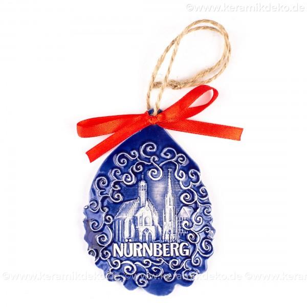 Nürnberg - Schöner Brunnen - Weihnachtsmann-form, blau, handgefertigte Keramik, Baumschmuck zu Weihnachten