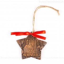 Nürnberg - Schöner Brunnen - Sternform, braun, handgefertigte Keramik, Christbaumschmuck