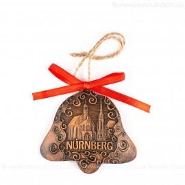 Nürnberg - Schöner Brunnen - Glockenform, braun, handgefertigte Keramik, Baumschmuck zu Weihnachten