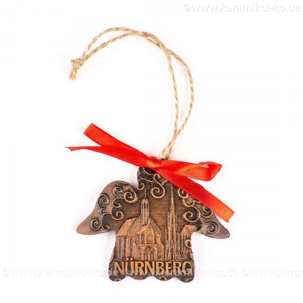 Nürnberg - Schöner Brunnen - Engelform, braun, handgefertigte Keramik, Weihnachtsbaum-Hänger
