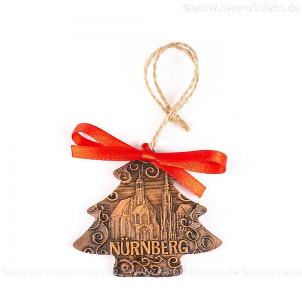 Nürnberg - Schöner Brunnen - Weihnachtsbaum-form, braun, handgefertigte Keramik, Weihnachtsbaumschmuck