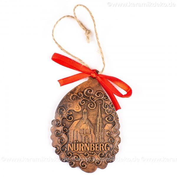 Nürnberg - Schöner Brunnen - Weihnachtsmann-form, braun, handgefertigte Keramik, Baumschmuck zu Weihnachten