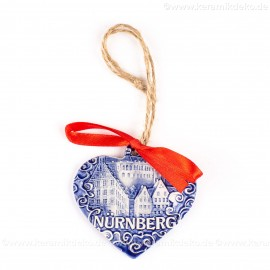 Kaiserburg Nürnberg - Herzform, blau, handgefertigte Keramik, Weihnachtsbaum-Hänger