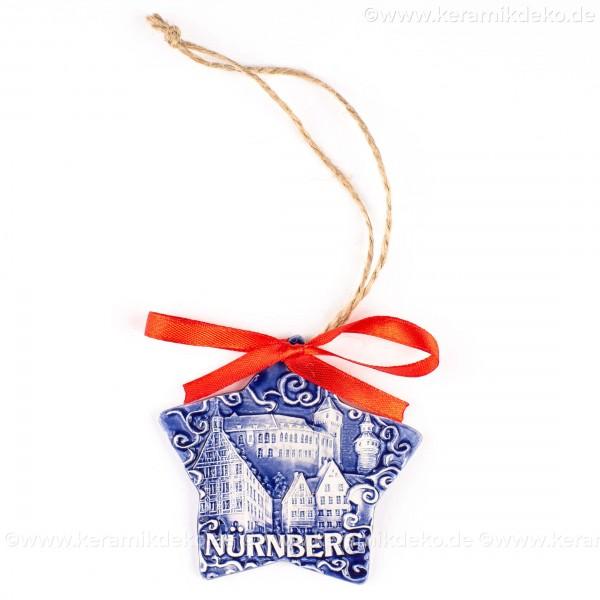 Kaiserburg Nürnberg - Sternform, blau, handgefertigte Keramik, Christbaumschmuck