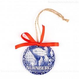 Kaiserburg Nürnberg - runde form, blau, handgefertigte Keramik, Weihnachtsbaumschmuck