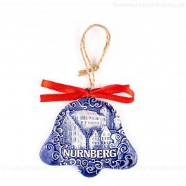 Kaiserburg Nürnberg - Glockenform, blau, handgefertigte Keramik, Baumschmuck zu Weihnachten