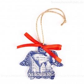 Kaiserburg Nürnberg - Engelform, blau, handgefertigte Keramik, Weihnachtsbaum-Hänger
