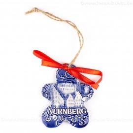 Kaiserburg Nürnberg - Keksform, blau, handgefertigte Keramik, Christbaumschmuck
