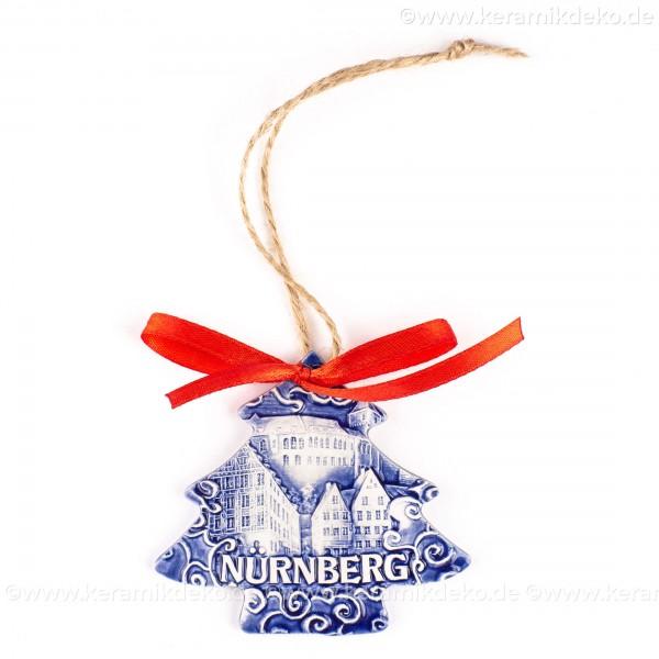 Kaiserburg Nürnberg - Weihnachtsbaum-form, blau, handgefertigte Keramik, Weihnachtsbaumschmuck