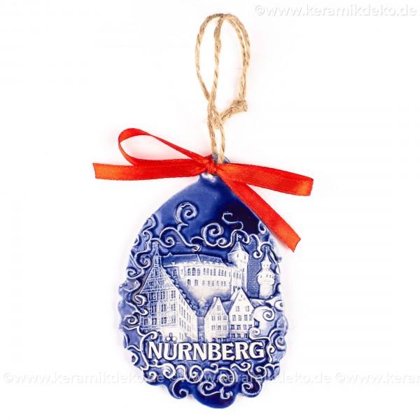 Kaiserburg Nürnberg - Weihnachtsmann-form, blau, handgefertigte Keramik, Baumschmuck zu Weihnachten