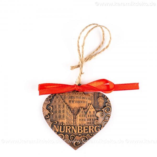 Kaiserburg Nürnberg - Herzform, braun, handgefertigte Keramik, Weihnachtsbaum-Hänger