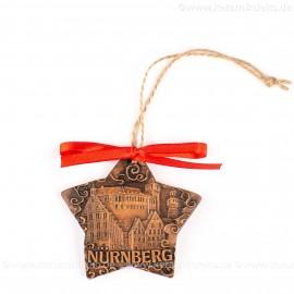 Kaiserburg Nürnberg - Sternform, braun, handgefertigte Keramik, Christbaumschmuck