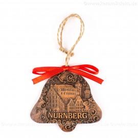 Kaiserburg Nürnberg - Glockenform, braun, handgefertigte Keramik, Baumschmuck zu Weihnachten