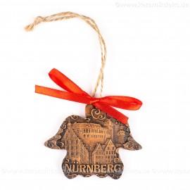 Kaiserburg Nürnberg - Engelform, braun, handgefertigte Keramik, Weihnachtsbaum-Hänger