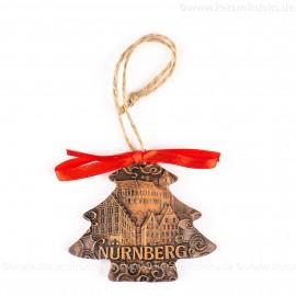Kaiserburg Nürnberg - Weihnachtsbaum-form, braun, handgefertigte Keramik, Weihnachtsbaumschmuck