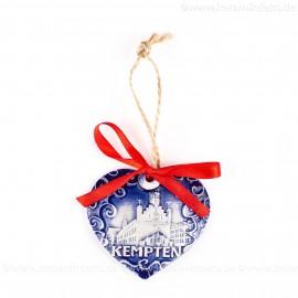 Kempten - Herzform, blau, handgefertigte Keramik, Weihnachtsbaum-Hänger