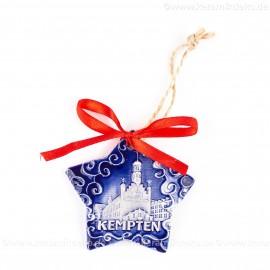 Kempten - Sternform, blau, handgefertigte Keramik, Christbaumschmuck