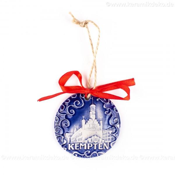 Kempten - runde form, blau, handgefertigte Keramik, Weihnachtsbaumschmuck