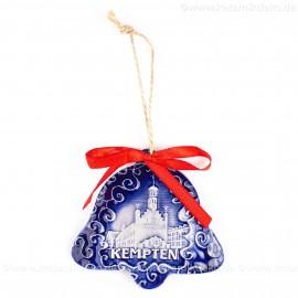 Kempten - Glockenform, blau, handgefertigte Keramik, Baumschmuck zu Weihnachten