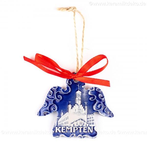 Kempten - Engelform, blau, handgefertigte Keramik, Weihnachtsbaum-Hänger