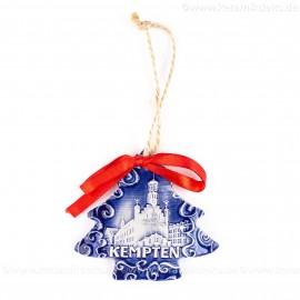 Kempten - Weihnachtsbaum-form, blau, handgefertigte Keramik, Weihnachtsbaumschmuck