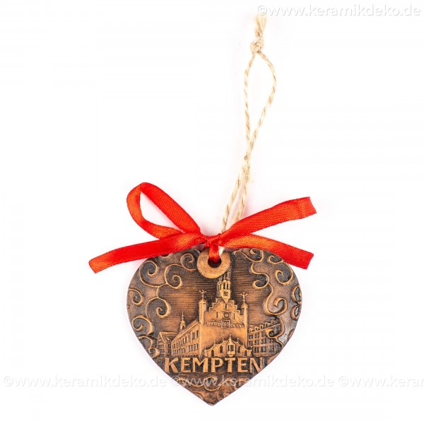 Kempten - Herzform, braun, handgefertigte Keramik, Weihnachtsbaum-Hänger
