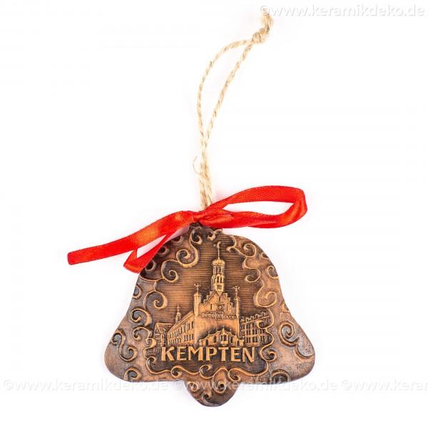 Kempten - Glockenform, braun, handgefertigte Keramik, Baumschmuck zu Weihnachten