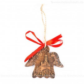 Kempten - Engelform, braun, handgefertigte Keramik, Weihnachtsbaum-Hänger