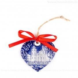 Ludwigsburg - Herzform, blau, handgefertigte Keramik, Weihnachtsbaum-Hänger