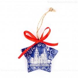 Ludwigsburg - Sternform, blau, handgefertigte Keramik, Christbaumschmuck