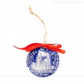 Ludwigsburg - runde form, blau, handgefertigte Keramik, Weihnachtsbaumschmuck