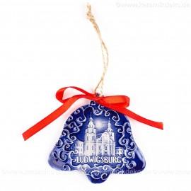 Ludwigsburg - Glockenform, blau, handgefertigte Keramik, Baumschmuck zu Weihnachten