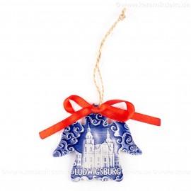 Ludwigsburg - Engelform, blau, handgefertigte Keramik, Weihnachtsbaum-Hänger
