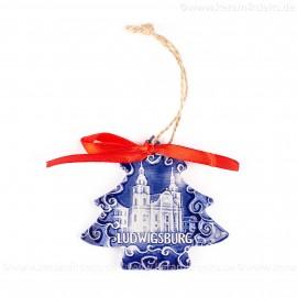 Ludwigsburg - Weihnachtsbaum-form, blau, handgefertigte Keramik, Weihnachtsbaumschmuck
