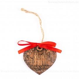 Ludwigsburg - Herzform, braun, handgefertigte Keramik, Weihnachtsbaum-Hänger