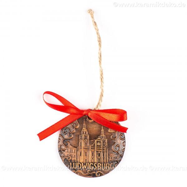 Ludwigsburg - runde form, braun, handgefertigte Keramik, Weihnachtsbaumschmuck