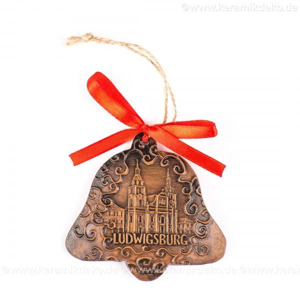 Ludwigsburg - Glockenform, braun, handgefertigte Keramik, Baumschmuck zu Weihnachten