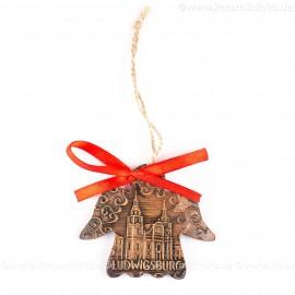 Ludwigsburg - Engelform, braun, handgefertigte Keramik, Weihnachtsbaum-Hänger