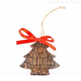 Ludwigsburg - Weihnachtsbaum-form, braun, handgefertigte Keramik, Weihnachtsbaumschmuck